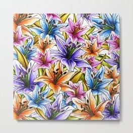 Stargazer Lily Floral Metal Print