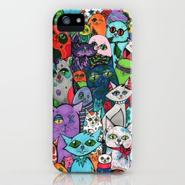 Crazy Cats Color  iPhone Case