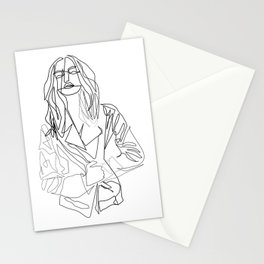 """""""Fashion Line Collection"""" - Minimal Woman With Jacket Print Stationery Cards"""