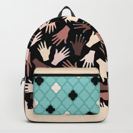Nail Expert Studio - Colorful Manicured Hands Pattern on Black Background Backpack
