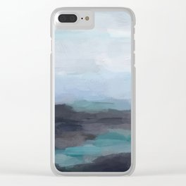 Mint Navy Blue Green Abstract Wall Art, Painting Art, Ocean Painting Print, Blue Water Clear iPhone Case