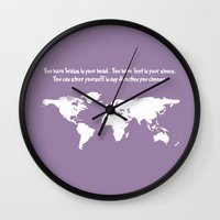 dr seuss Wall Clocks featuring World Map with Dr. Seuss Quote by Dustin Hall