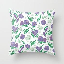 Crocus background Throw Pillow