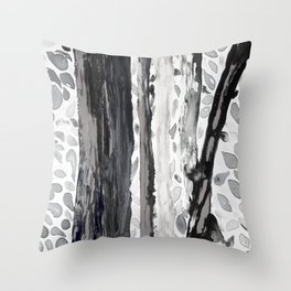 Rainbow Eucalyptus Graffiti artist tree from shedding bark South Pacific Black and White Night Throw Pillow