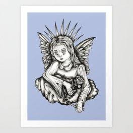 Angel, with Rose & Dagger Art Print