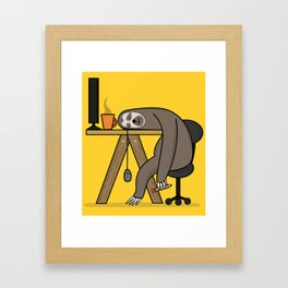 Office sloth Framed Art Print
