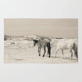 Wild Horses 6 - Black and White Rug