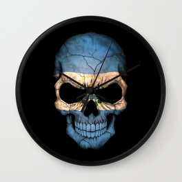 Dark Skull with Flag of El Salvador Wall Clock