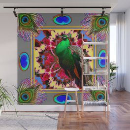 GREEN PEACOCK JEWELS & FEATHERS GREY ART Wall Mural