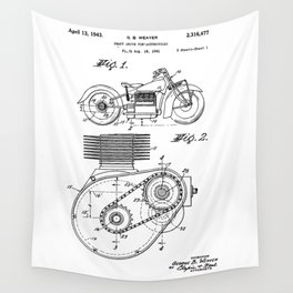 Motorcycle Patent Art Wall Tapestry