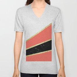 Living Coral, White, Black Marble and Gold Stripes Glam #1 #minimal #decor #art #society6 Unisex V-Neck