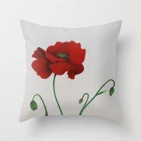 poppy Throw Pillows featuring Poppy by Diane Nicholson