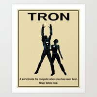movie poster Art Prints featuring Tron Movie Poster by Finlay McNevin