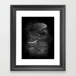 Burger Design made of white contours and stars Framed Art Print