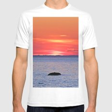 The Rock, The Sea and The Setting Sun MEDIUM White Mens Fitted Tee