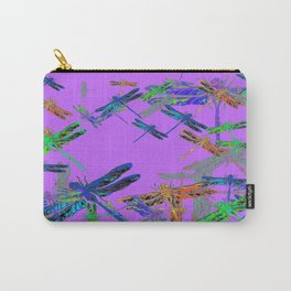 Decorative Green-Purple Dragonfly Lilac Skies Abstract Design Carry-All Pouch
