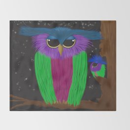 The Prismatic Crested Owl Throw Blanket