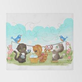 Three Kittens Washing Mittens Throw Blanket