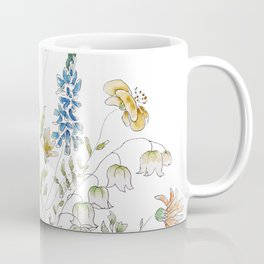 wild flowers and blue bird _ink and watercolor 1 Coffee Mug