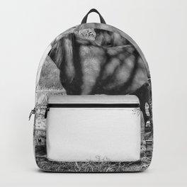 Wild Horses  - Black And White Backpack