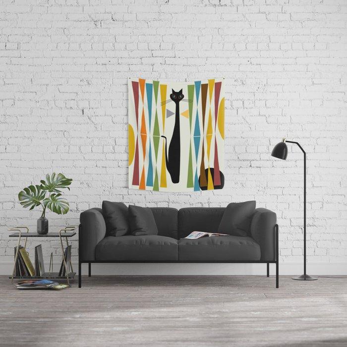 Mid-Century Modern Art Cat 2 Wall Tapestry