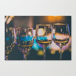 Glowing Wine Glasses filled with Blue Light Canvas Print