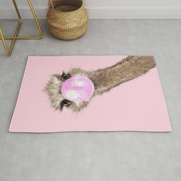 Sneaky Ostrich with Bubble Gum in Pink Rug
