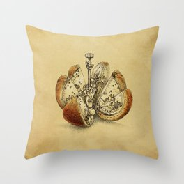 Steampunk Orange (sepia) Throw Pillow
