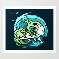 Water fox Art Print