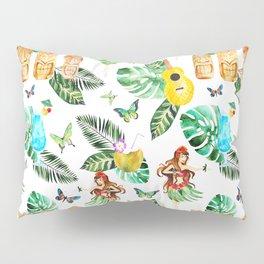 Tropical green pink yellow watercolor hand painted hawaiian floral Pillow Sham