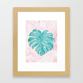 Watercolor Tropical Leaf Framed Art Print