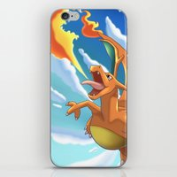 charizard iPhone & iPod Skins featuring Charizard by Pablo Rey