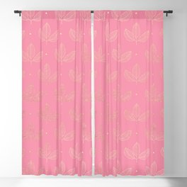 Girly pink faux gold elegant triangles leaves pattern Blackout Curtain
