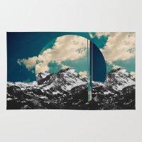 glitch Area & Throw Rugs featuring Mountains glitch by Blaz Rojs