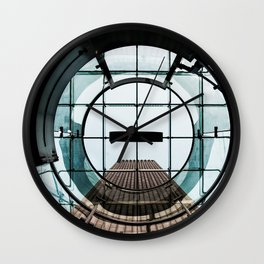 Architecture Abstract Circles and Glass Squares Wall Clock