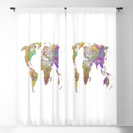 World Map Watercolor Art Print Blackout Curtain