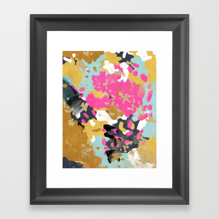 Laurel - Abstract painting in a free style with bold colors gold, navy, pink, blush, white, turquois Gerahmter Kunstdruck