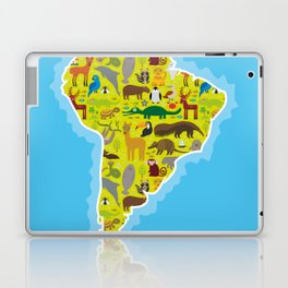 South America sloth anteater toucan lama armadillo boa manatee monkey dolphin Maned wolf raccoon Laptop & iPad Skin