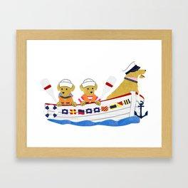 Nautical Dogs Preppy Golden Retrievers Framed Art Print