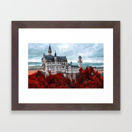 The Castle of Mad King Ludwig, Autumn, Neuschwanstein Castle, Bavaria, Germany landscape painting Framed Art Print