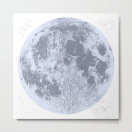 Full Moon Print (blue), by Christy Nyboer Metal Print
