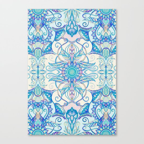 Teal Blue, Pearl & Pink Floral Pattern Canvas Print