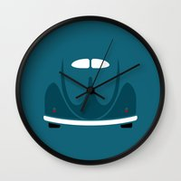 volkswagen Wall Clocks featuring Volkswagen Beetle by Nick Steen