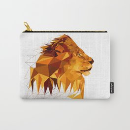 Geometric Lion Wild animals Big cat Low poly art Brown and Yellow Carry-All Pouch