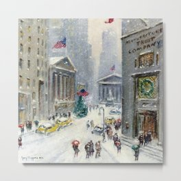 Broad Street to Wall Street, New York City landscape painting by Guy Carleton Wiggins Metal Print