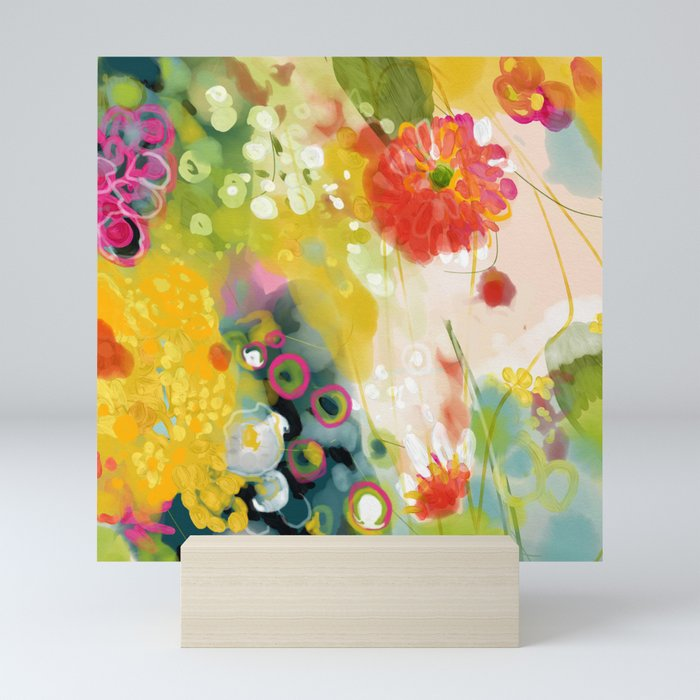abstract floral art in yellow green and rose magenta colors Mini Art Print