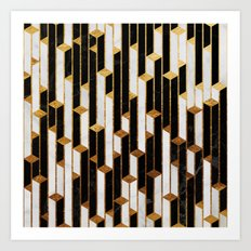 Marble skyscrapers - black, white and gold Art Print
