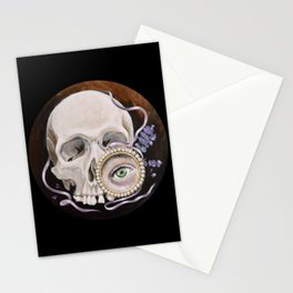 Stillife with skull, lavender and lovers eye Stationery Cards