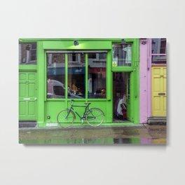 Green Shop and Bicycle Metal Print