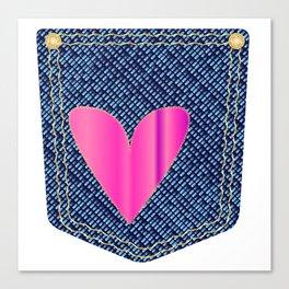 Heart Denim Pocket Canvas Print